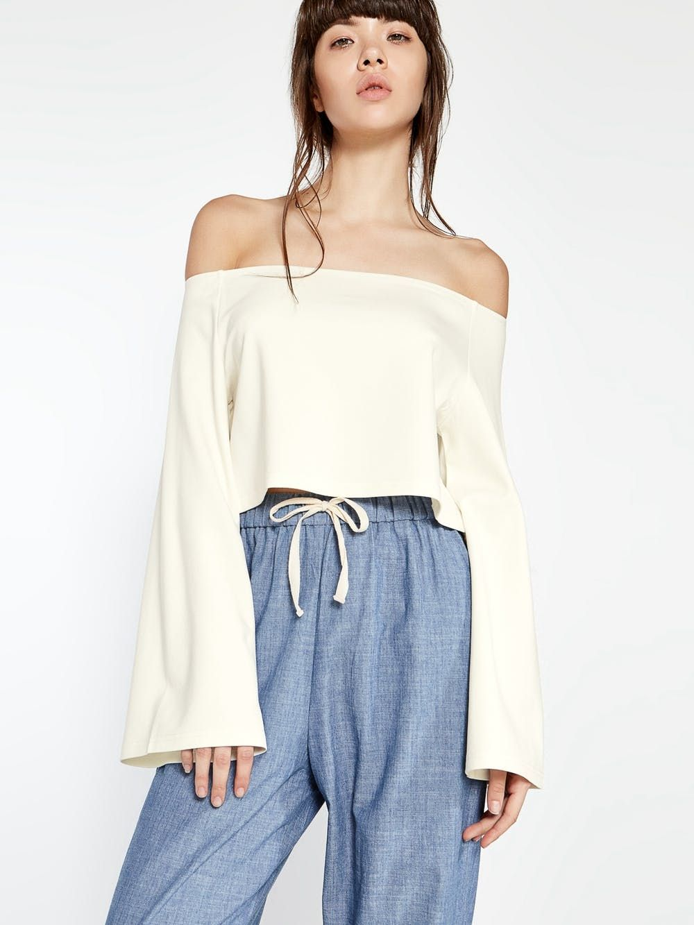 7d518aec80f5 Aden Bell Sleeve Off Shoulder Top - White - Pomelo Singapore ...