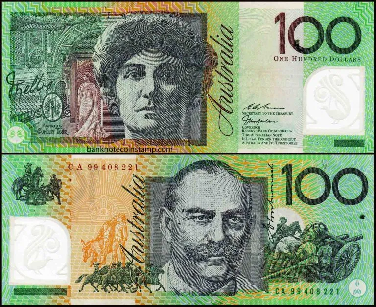 Australian 100 Dollars Polymer Used Banknote Dame Nellie Melba Bank Notes 100 Dollar Dollar Money