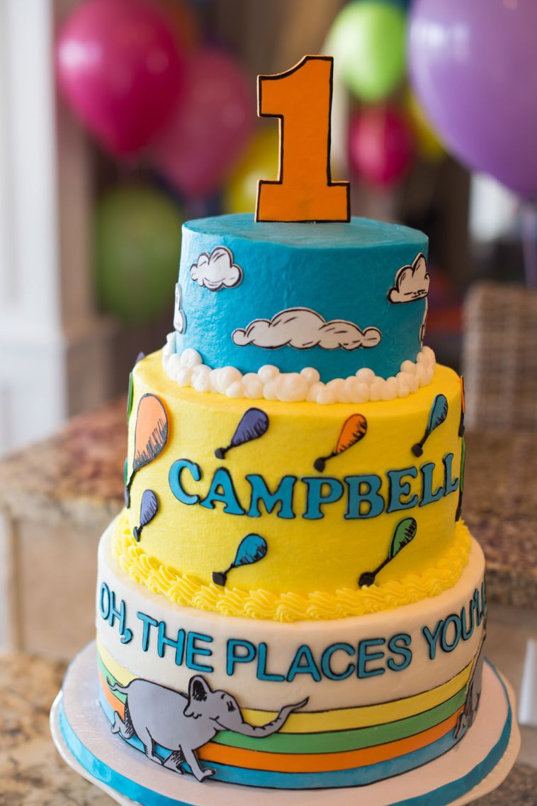 Swell Oh The Places Youll Go Birthday Cake Dr Seuss Birthday Party Personalised Birthday Cards Veneteletsinfo