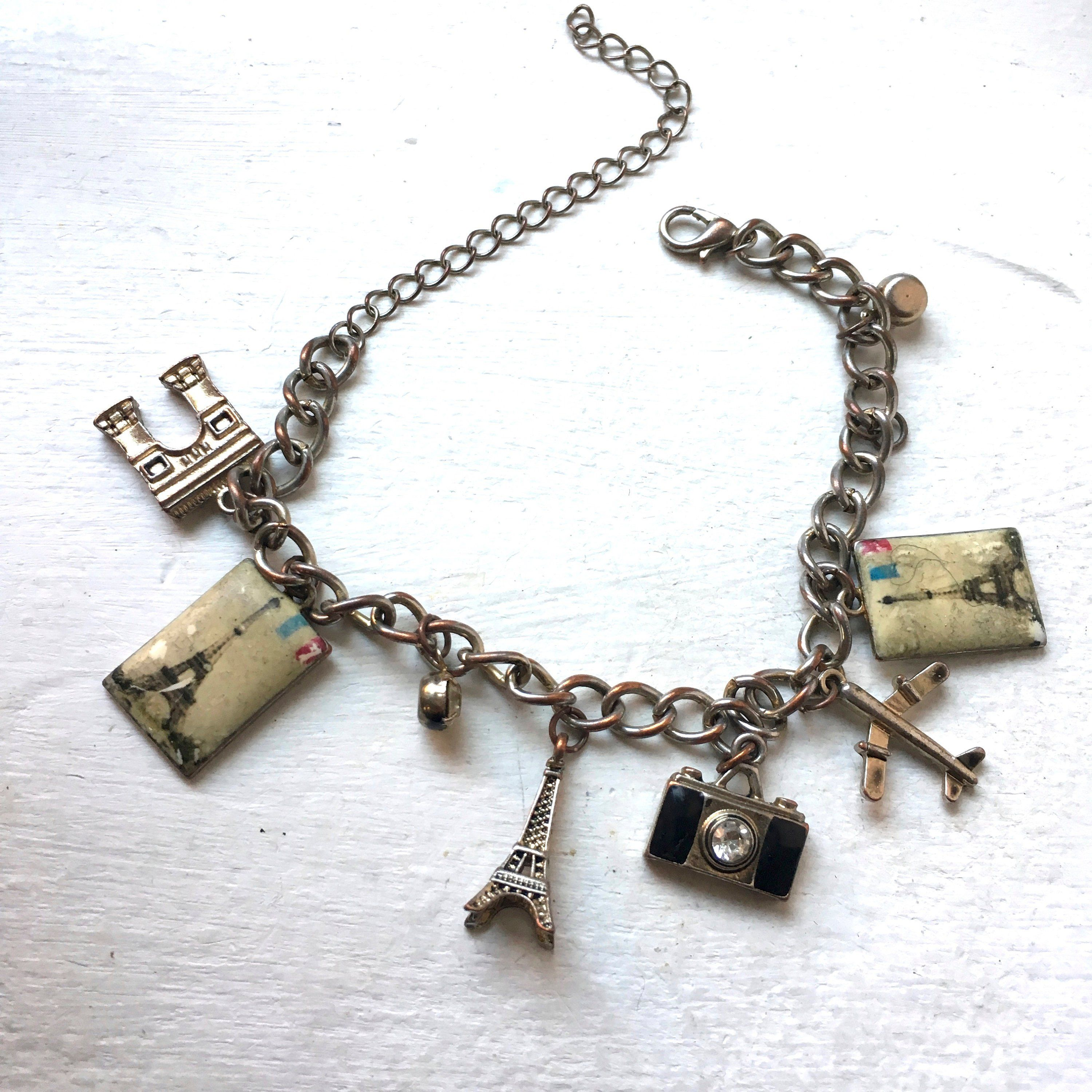 Charm Bracelet Paris Eiffel Tower Camera Gift