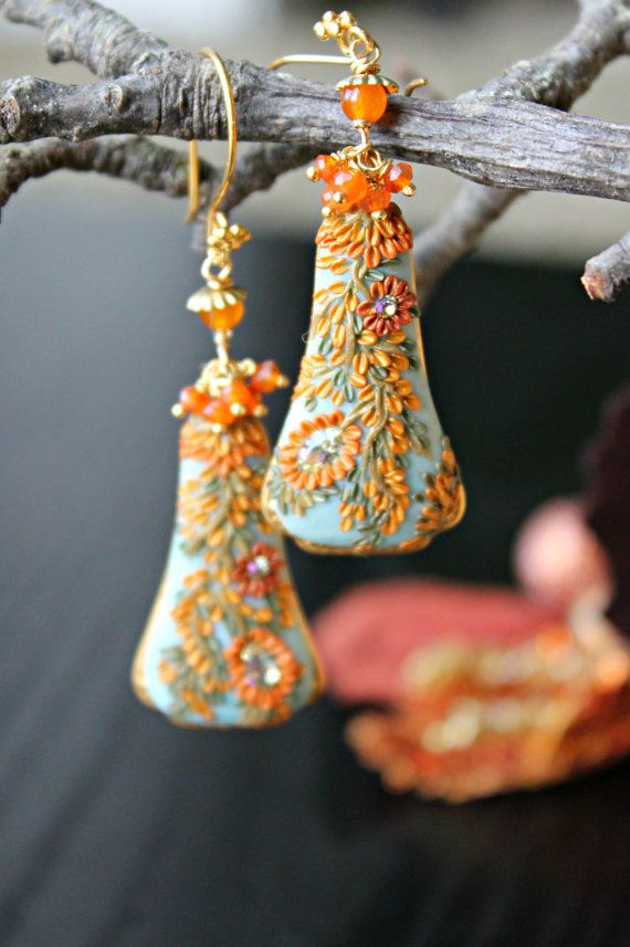Peelirohini: polymer clay floral earrings made using the appliqué technique (sometimes known as the embroidery technique).