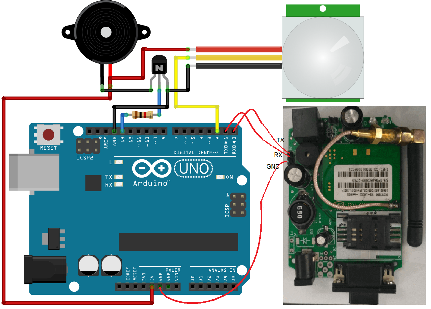 gsm based home security system to detect the trespasser using pirgsm based home security system to detect the trespasser using pir and send sms alert