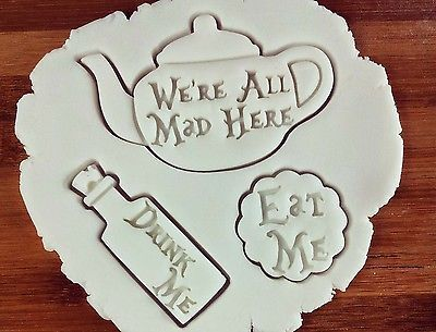 Alice in Wonderland biscuit cutter teapot mad tea party eat me drink me