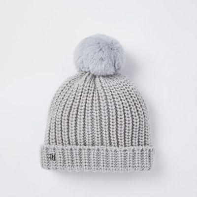 199c71fbd7ac9 Baby grey knit bobble beanie hat - Baby Girls Accessories - Mini Girls -  girls