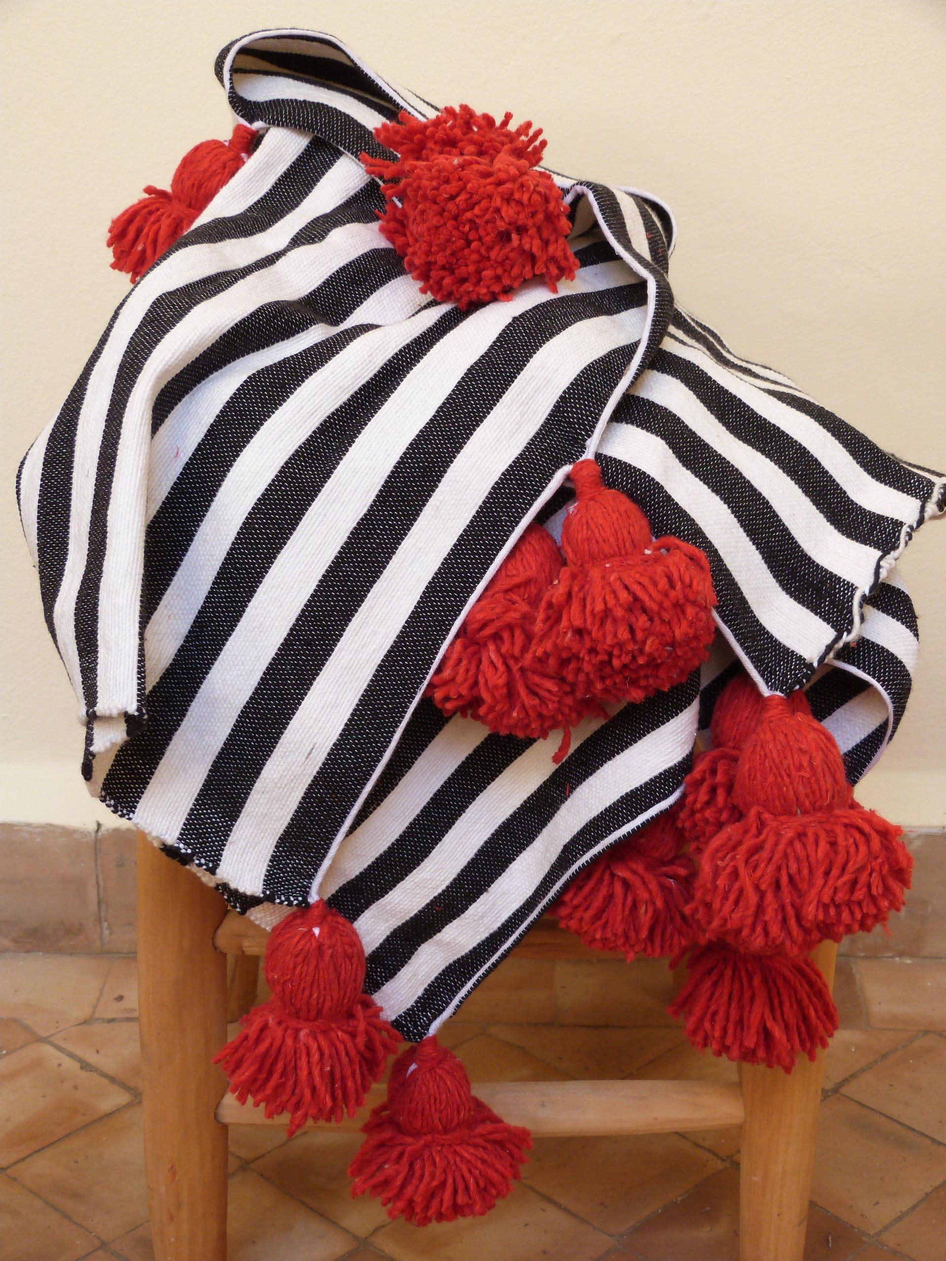 Moroccan Stripes Pom Pom Blankets, Black And White Throw Blanket,