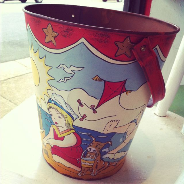 Beach bound with a vintage pail!