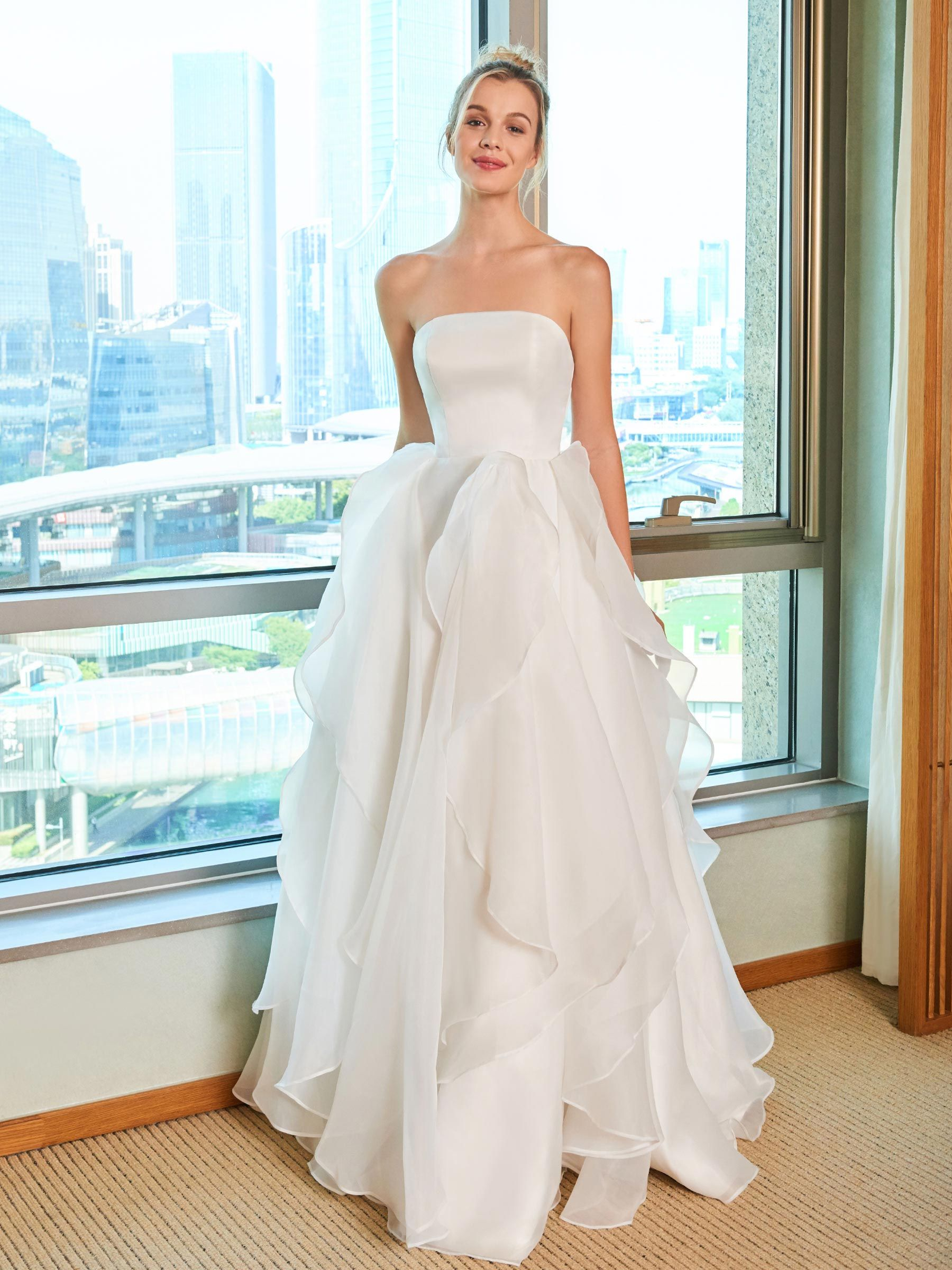 Luxury dresses for wedding guest  Strapless Ruffles Wedding Dress  Wedding Dresses  Pinterest