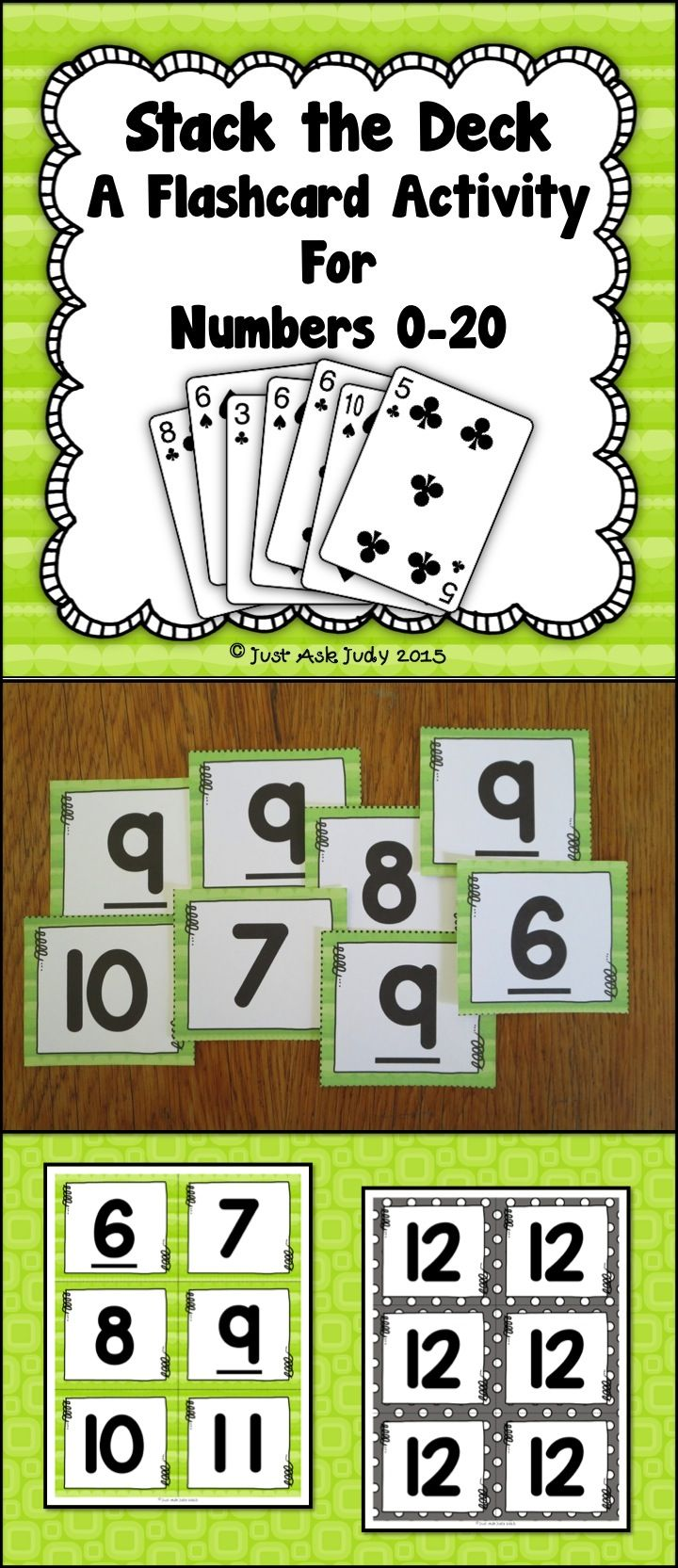 Number Recognition 0-20 Stack the Deck A Flashcard Activity | Number ...