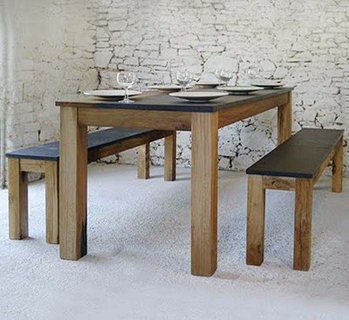 Contemporary Dining Room Table with Bench - http://quickhomedesign.com/contemporary-dining-room-table-with-bench/?Pinterest
