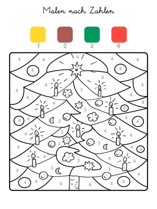 malen nach zahlen: weihnachtsbaum ausmalen zum ausmalen