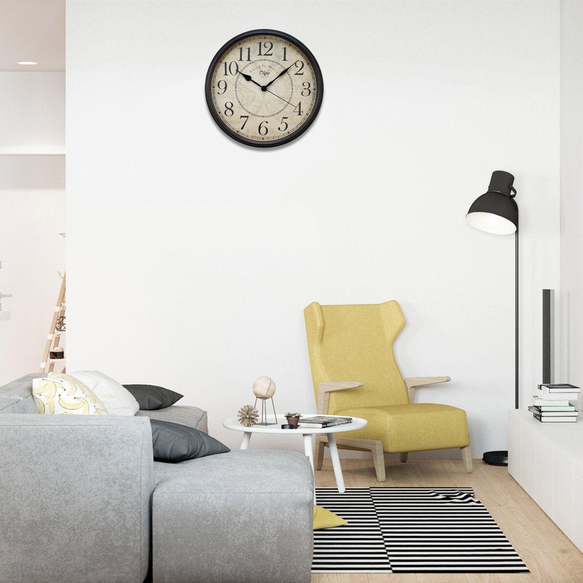 Hippih 12 Silent Wall Clock Wood Non Ticking Digital Quiet Sweep Home Decor Vintage Wooden Clocks Number Wood Wall Clock Outdoor Wall Clocks Wall Clock