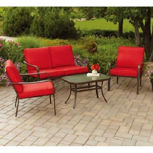 4 Piece Patio Furniture Red Outdoor Cushioned Glass Top Table Chairs Love Outdoor Patio Furniture Sets Patio Furniture Conversation Sets Conversation Set Patio