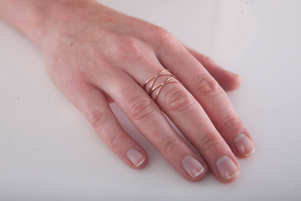 Atomic - Thin Gold Ring - Minimal Ring - Geometric Gold Ring - Space ...