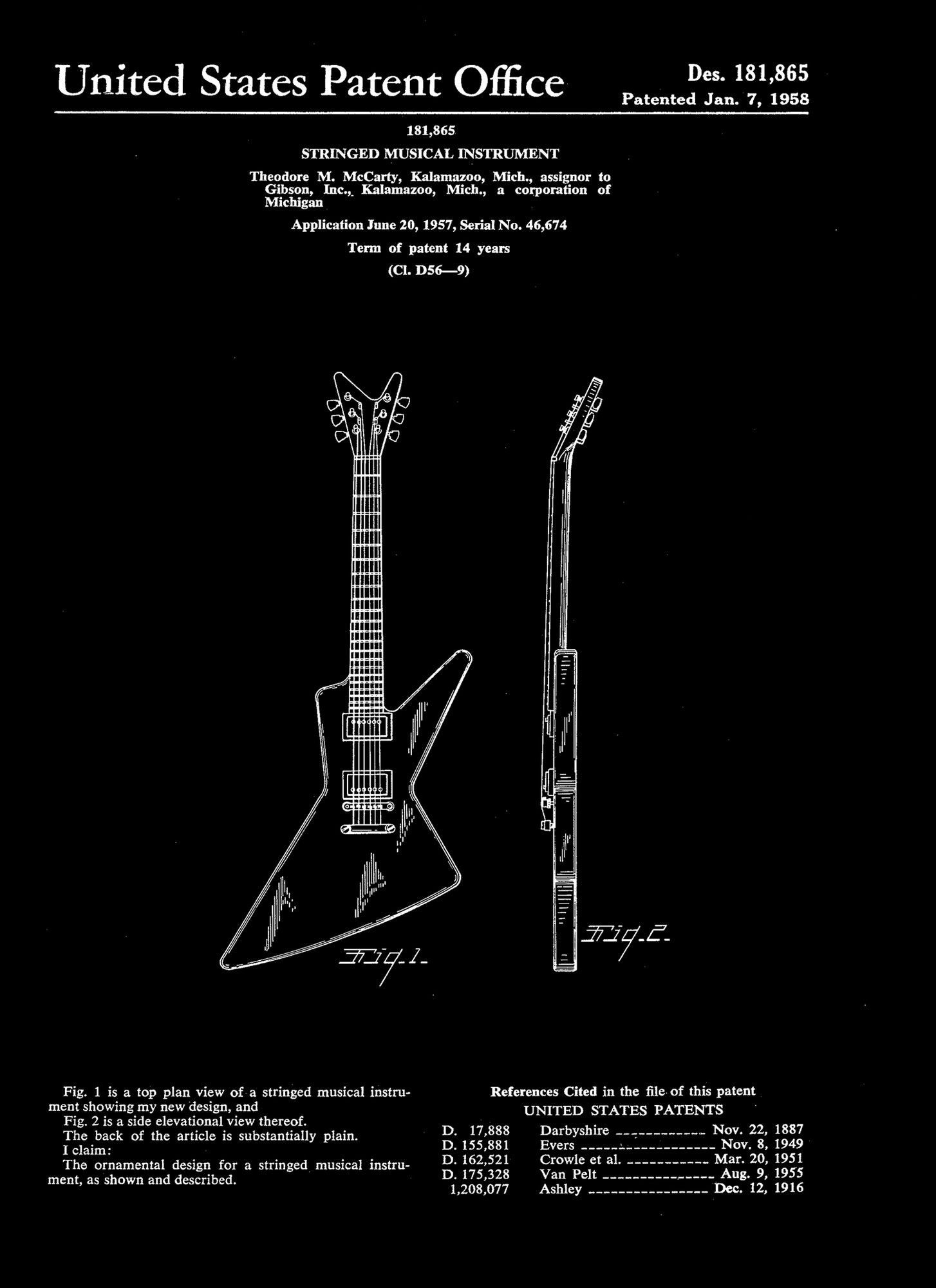 gibson explorer guitar patent graphic art [ 1454 x 2000 Pixel ]