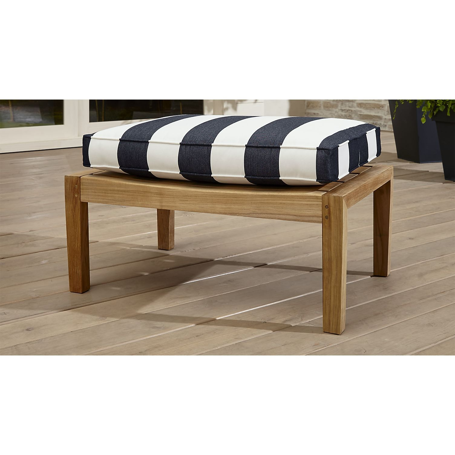 Regatta Natural Ottoman with Cabana Stripe Navy Sunbrella