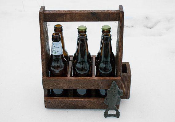 Beer Caddy Wooden Beer Carrier Wooden 6 Pack Carrier Beer Carrier Home Brewing Fish Bottle Opener Homemade Beer 6 Pack Holder