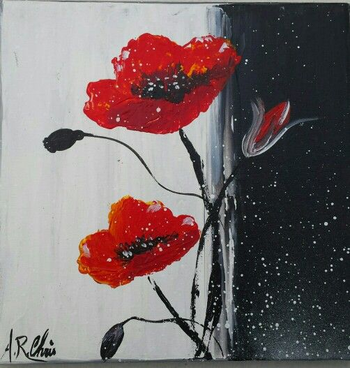 artiste raffin christine peinture acrylique sur toile 20x20 coquelicots acrylique 20 x20. Black Bedroom Furniture Sets. Home Design Ideas