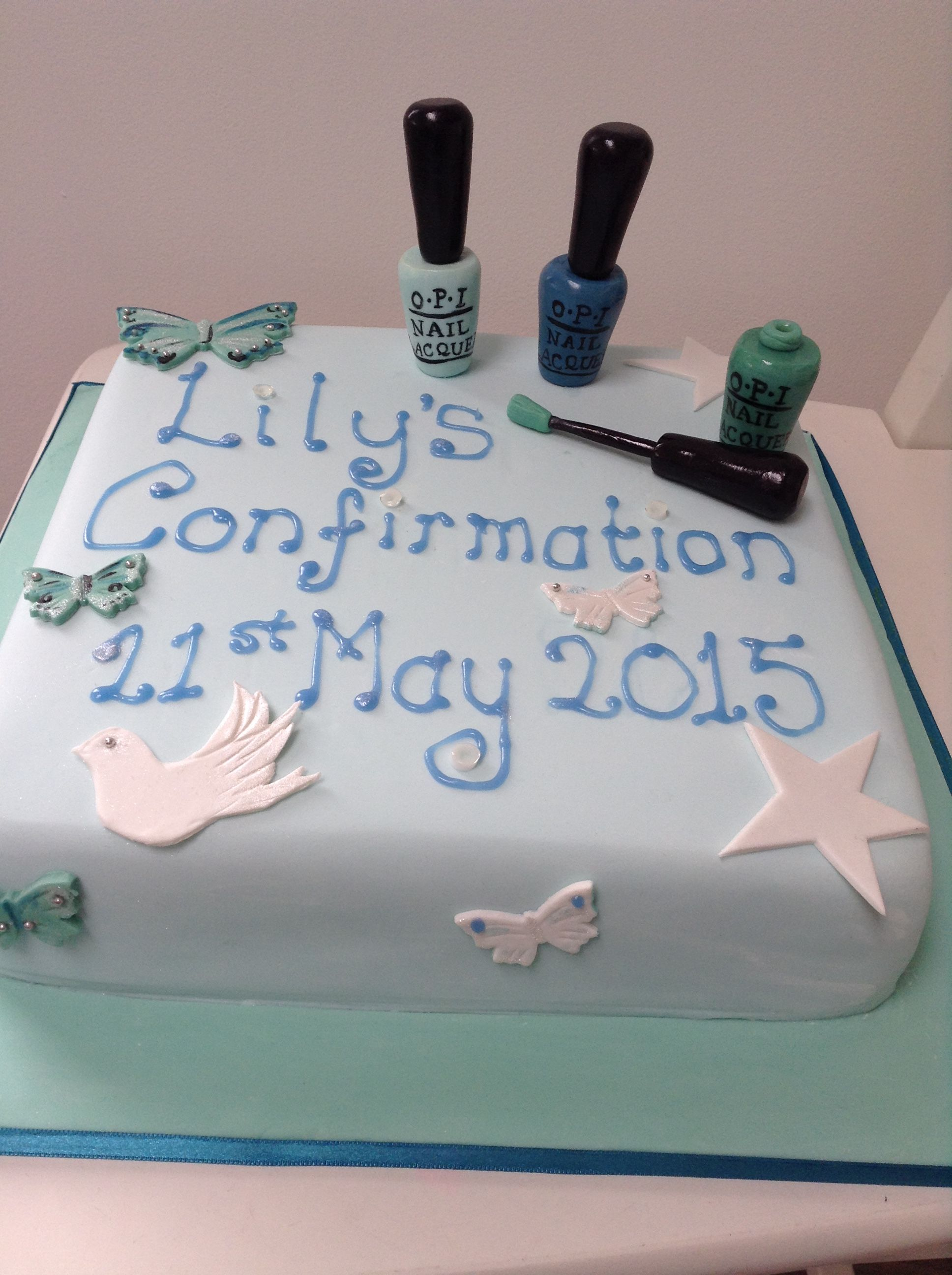 Girl's confirmation cake with edible OPI nail varnish  Great