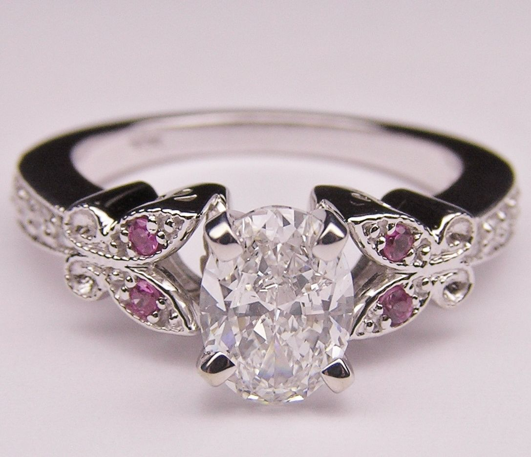 oval diamond butterfly engagement ring This vintage Monarch