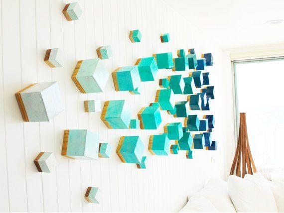 3d Art Cubes Wall Sculpture Installation Art Wood Wall Etsy Contemporary Wall Art Decor Wall Sculptures Wood Wall Art
