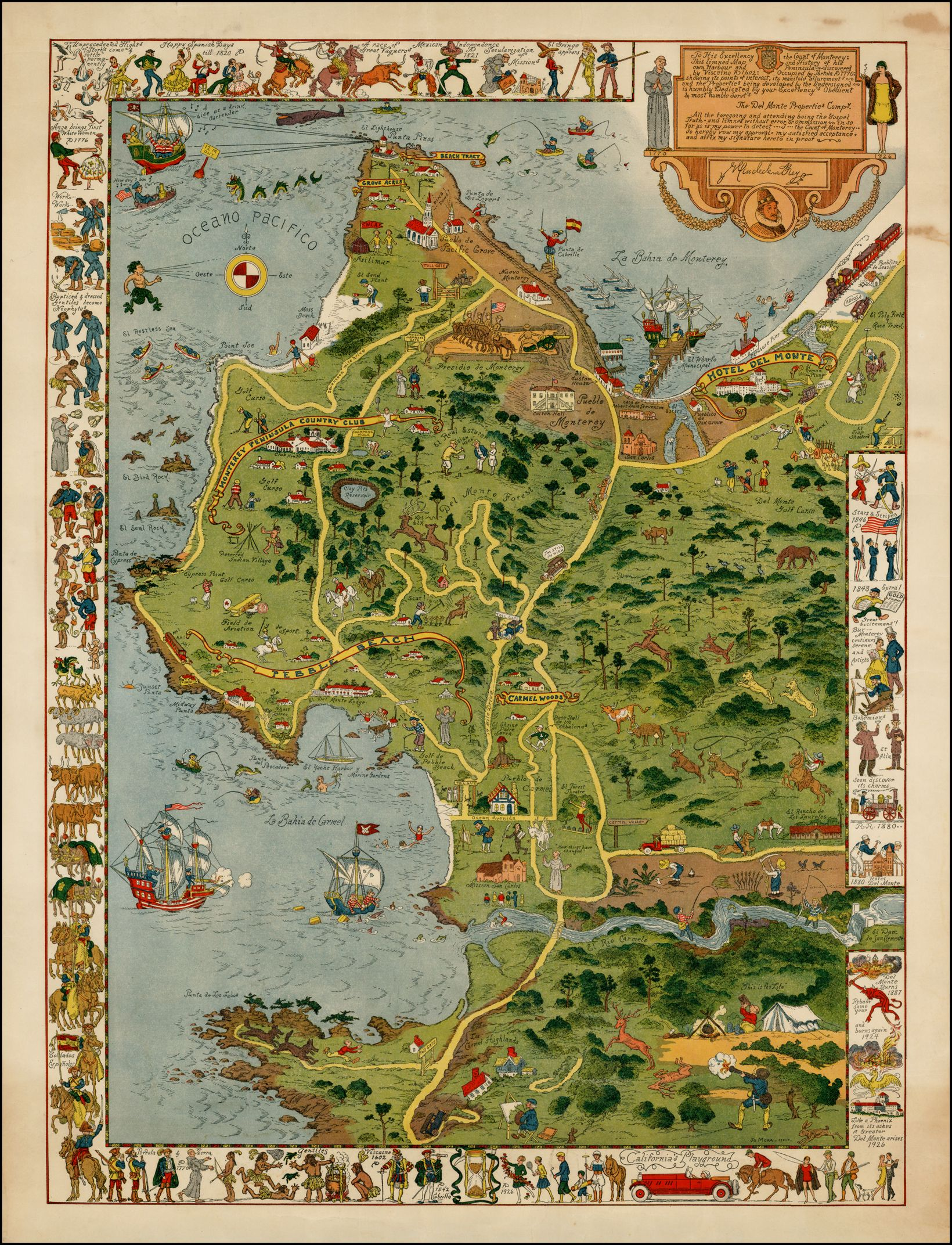 Jo Mora\'s map of Monterey Peninsula in California (Central ...