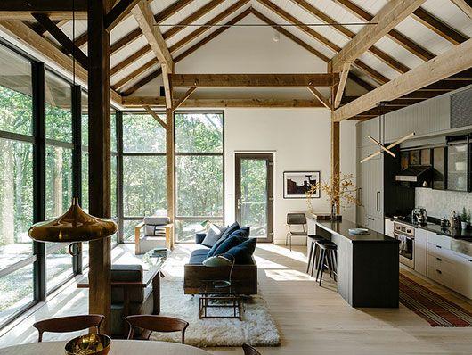 Good reads dwell sfgirlbybay living spacesliving roomskitchen livingopen living areamodern cabin interiorinterior designmodern barn housemodern