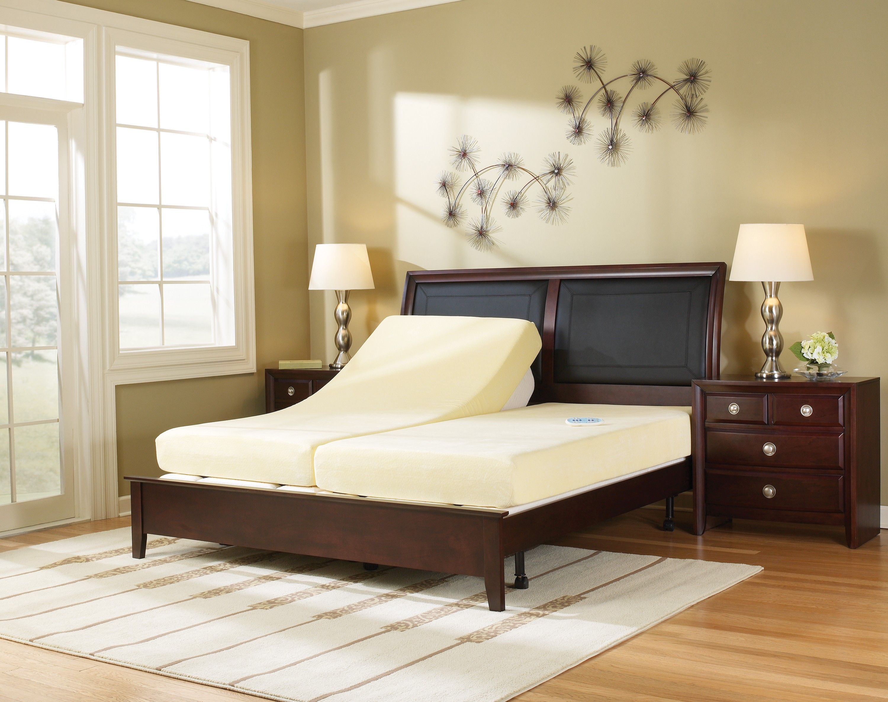 Contemporary Beds | Modern Elegant Bedroom Furnished With Graceful  Adjustable Bed Dark .
