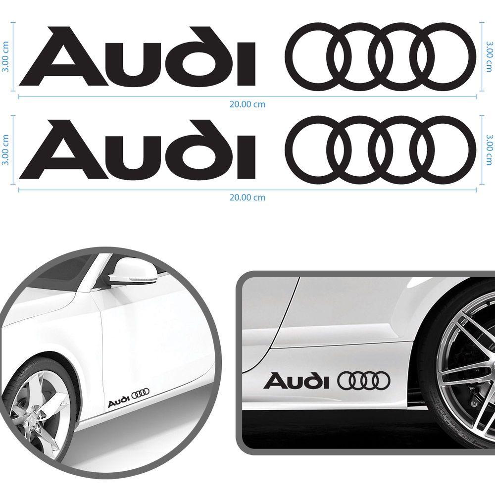 Adesivi auto audi a3 a4 a5 a6 q3 q5 q7 tt 2 pezzi 20 x 3 cm stickers in vinile