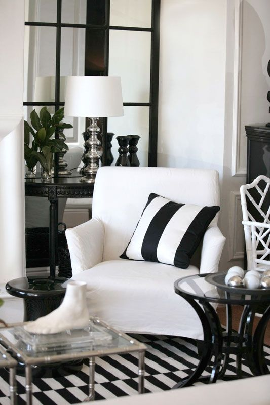 Stylish living room with a foot sculpture   Home: B&W   Pinterest ...