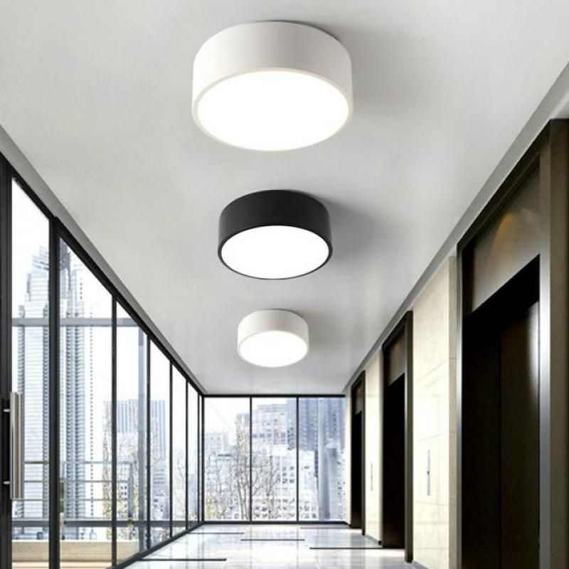 2017 Balcony Mini Led Light Nordic Style Black White Porch Lamp Home Office Round Small Ceiling Light Ceiling Lights Bedroom Ceiling Light Led Ceiling Lights