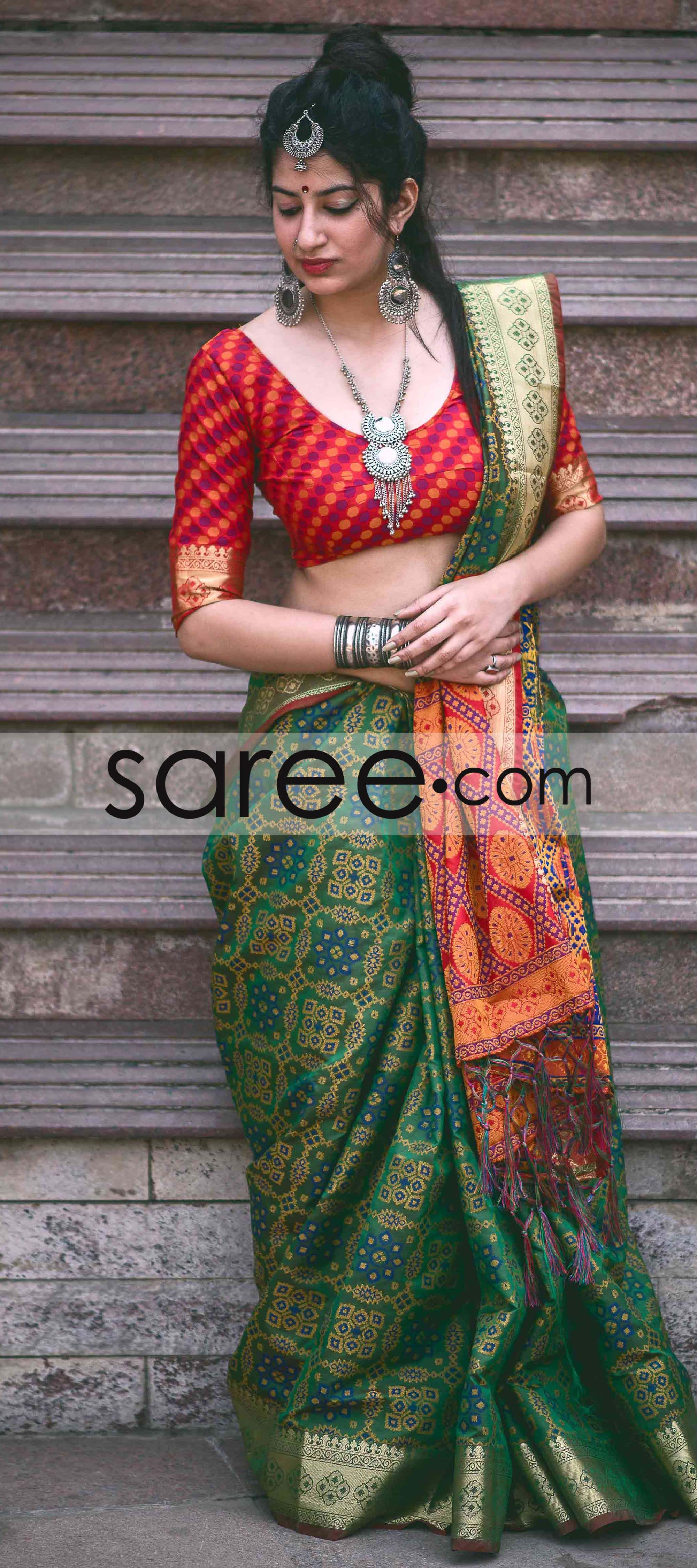 a4a83e6fb2692f Green and Red Jacquard Silk Patola Print Saree With Weaving