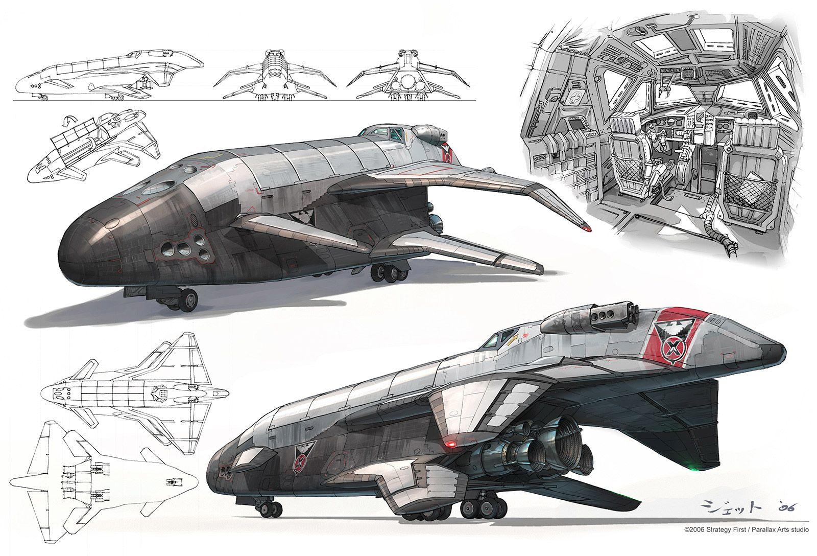 Shuttle concept. Picture (2d, sci-fi, concept art ...
