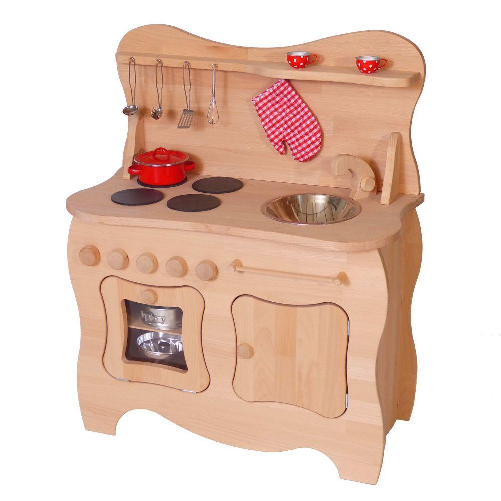 Kinderholzkuche Schneewittchen Schwungvolles Design Buchenholz 2015 Kinder Holz Kuche Kinder Holz Spielkuche Holz