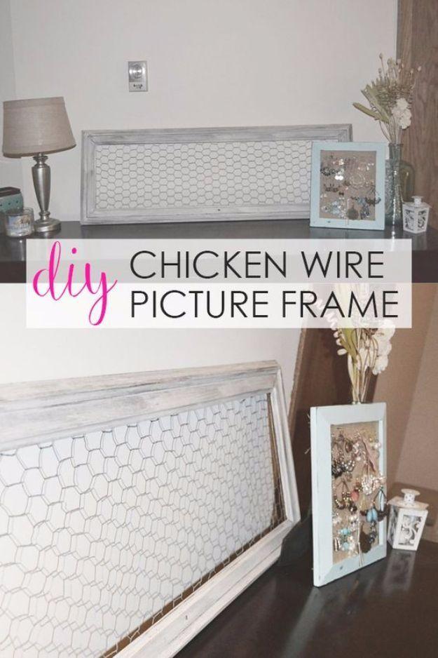 Best DIY Home Decor Crafts - DIY Chicken Wire Picture Frame - Easy ...