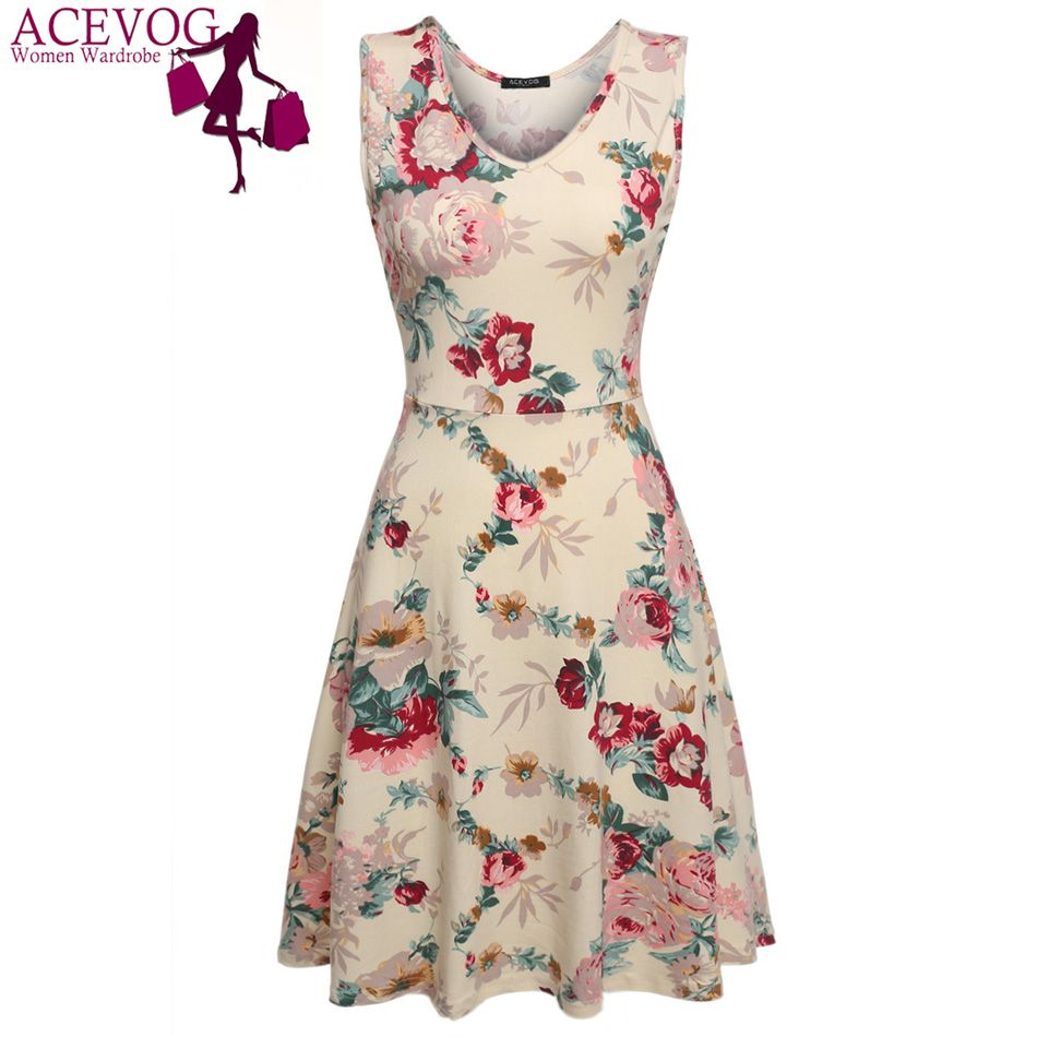 Acevog merk 2017 zomer dress vrouwen sexy 1950 s lady elegante print casual bloemen mouwloze dress zonnejurk feminino vestidos