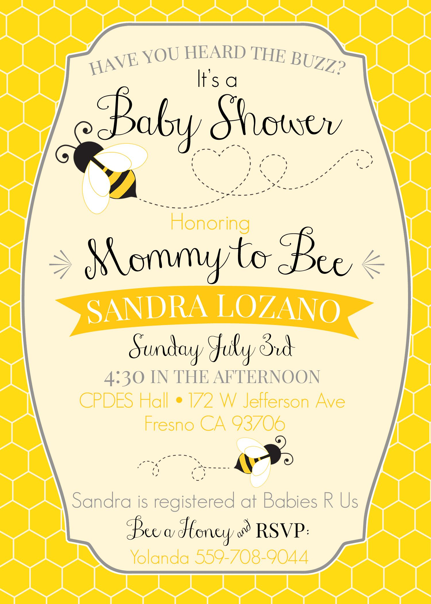 Mommy to Bee invitation! Templates found on Etsy Website ...