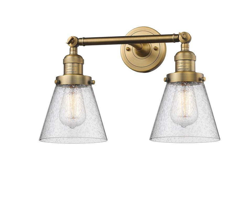Photo of Innovations Lighting 208-BB-G64 Brushed Brass / Seedy Small Cone 2 Light 16″ Wide Bathroom Vanity Light with Multiple Shade Options