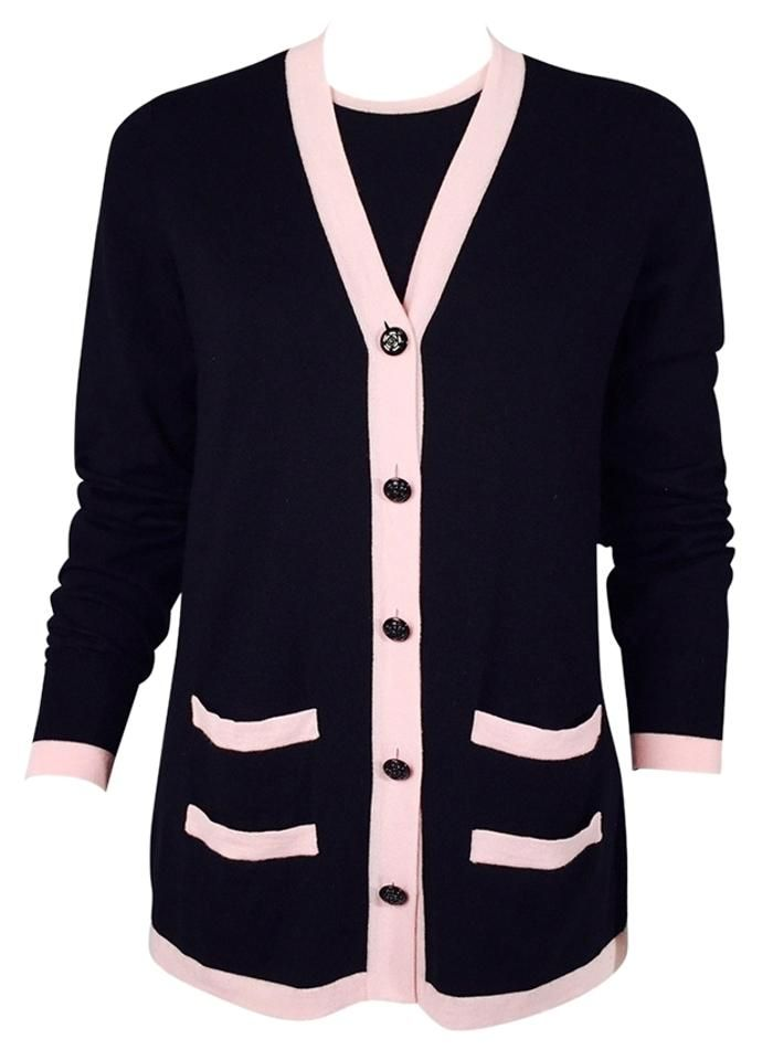 Chanel Black/Pink Twinset Cashmere with Trim Cardigan Size 8 (M)