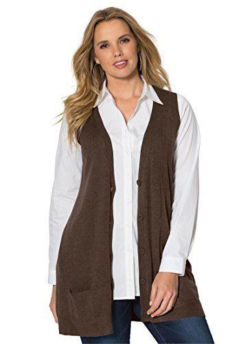Women's Sweater Vests - Roamans Womens Plus Size Fine Gauge Long ...