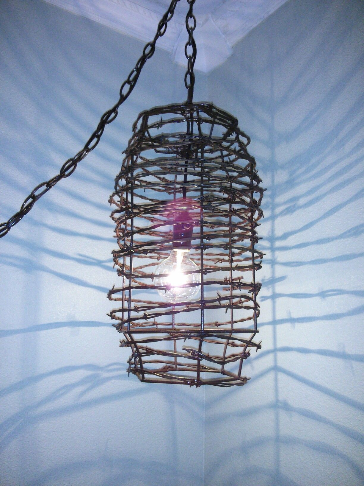 Just finished this rusty barbed wire pendant light. I think it ...