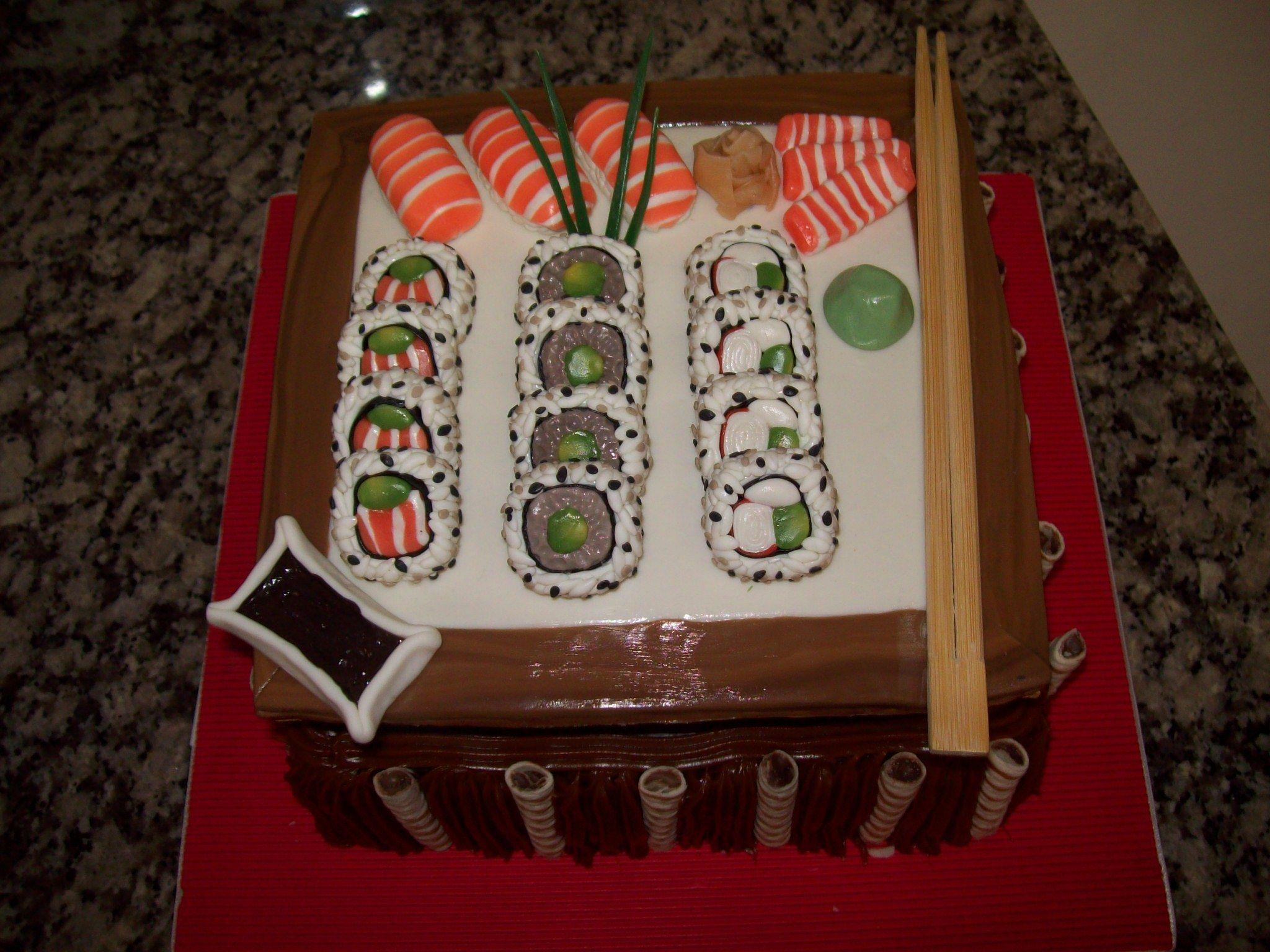 Torta Sushi!! para Lelu-Lola en sus 20 añitos!!!! (adorno en Porcelana Fria)