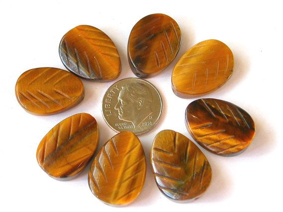 Tiger Eye Beads Tiger Eye Leaf Beads Tiger Eye Gemstone by wimsy (Craft Supplies & Tools, Jewelry & Beading Supplies, Beads, tiger eye beads, tiger eye leaf beads, tiger eye gemstones, golden tiger eye, gemstone leaf beads, earring beads, necklace beads, brown tiger eye, carved tiger eye, shiny tiger eye, wimsy)