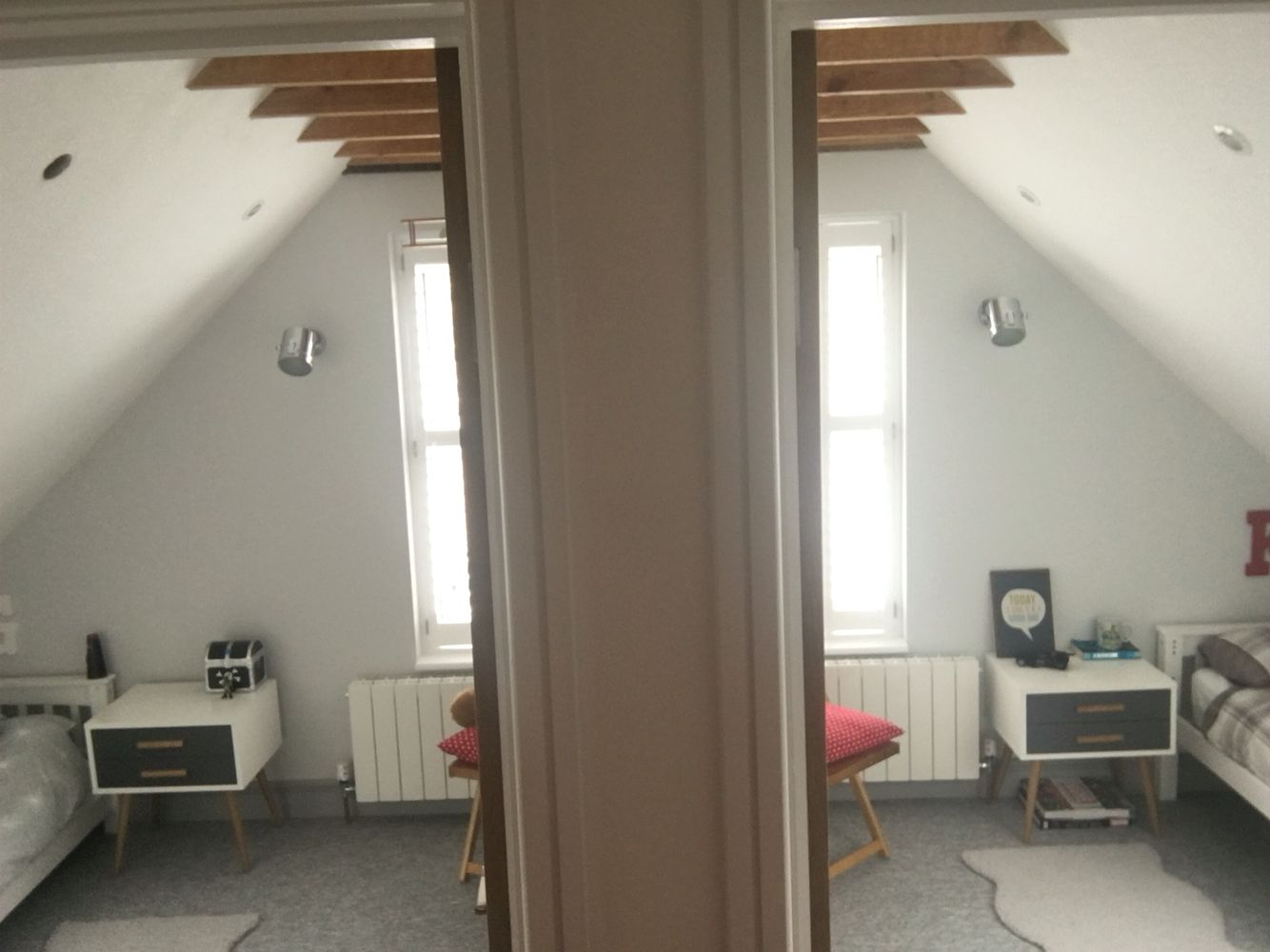 divided back eaves room in two. loft rooms, attic rooms, chalet