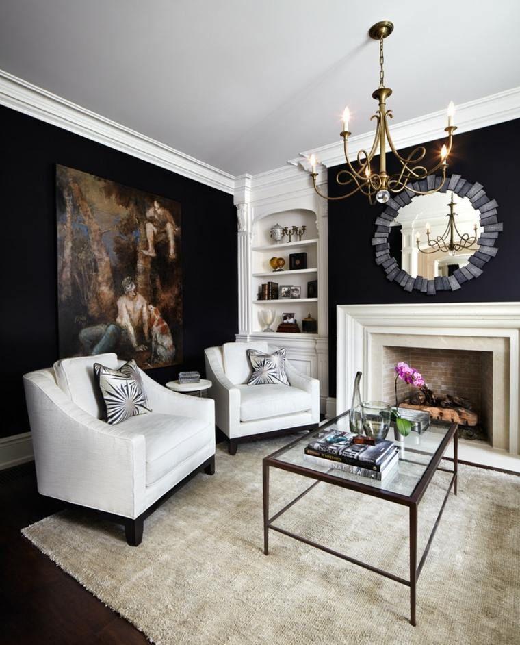 ideas para paredes negras en el saln moderno