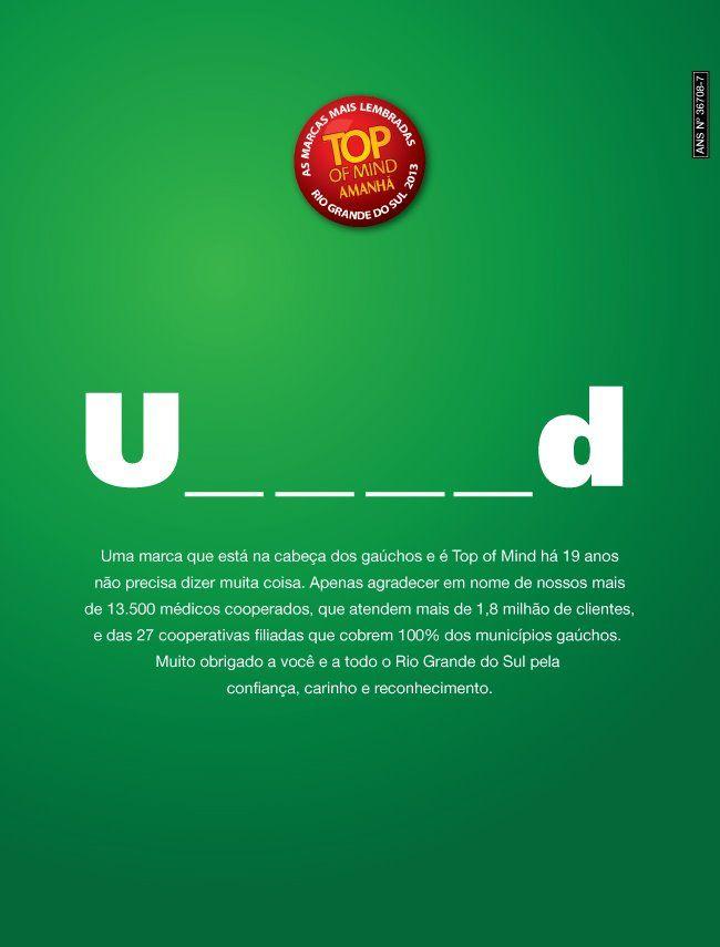 Anúncio sem logo, criado pela DeBrito Sul para comemorar o TOP OF MIND da revista Amanhã/RS.