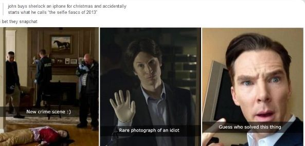 When Sherlock gets a snapchat! XD