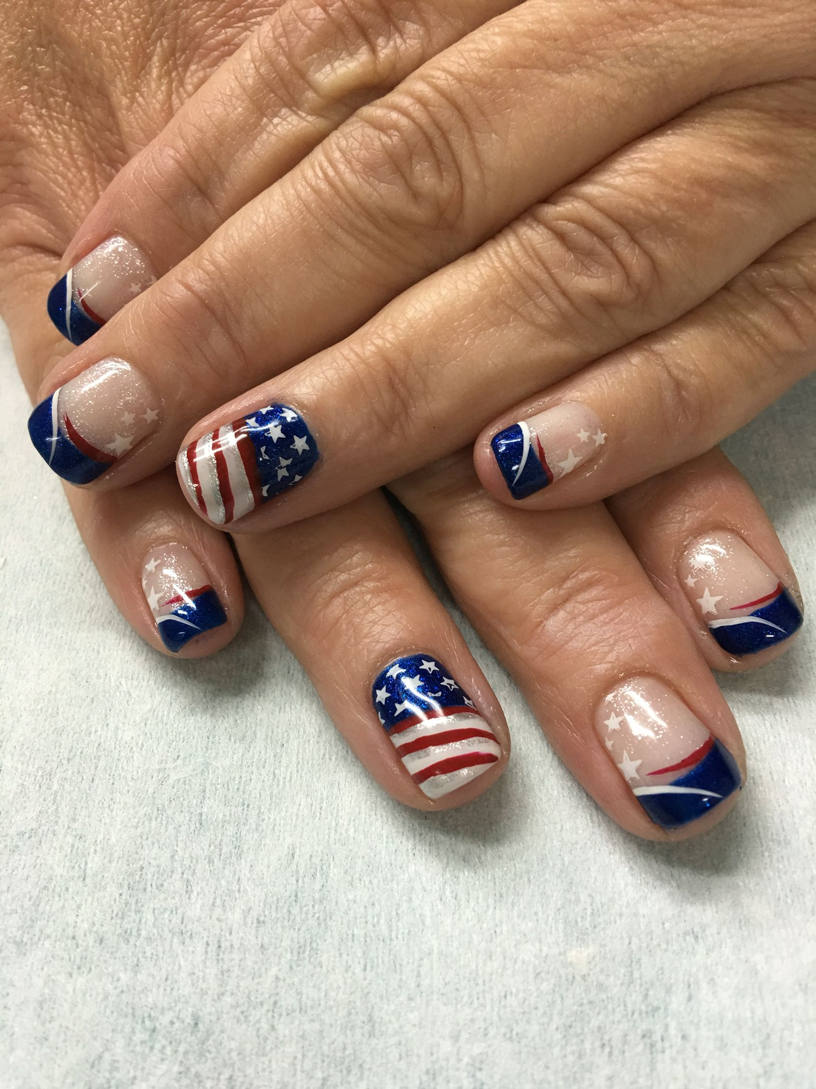 Patriotic 4th of July Shimmer Red, White & Blue Flag stamped French ...