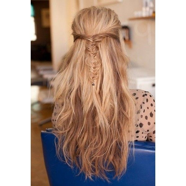Messy Fishtail Braid, Half-up, Half-down Hairstyles Long Hair ❤ liked on Polyvore featuring accessories, hair accessories, hair and long hair accessories