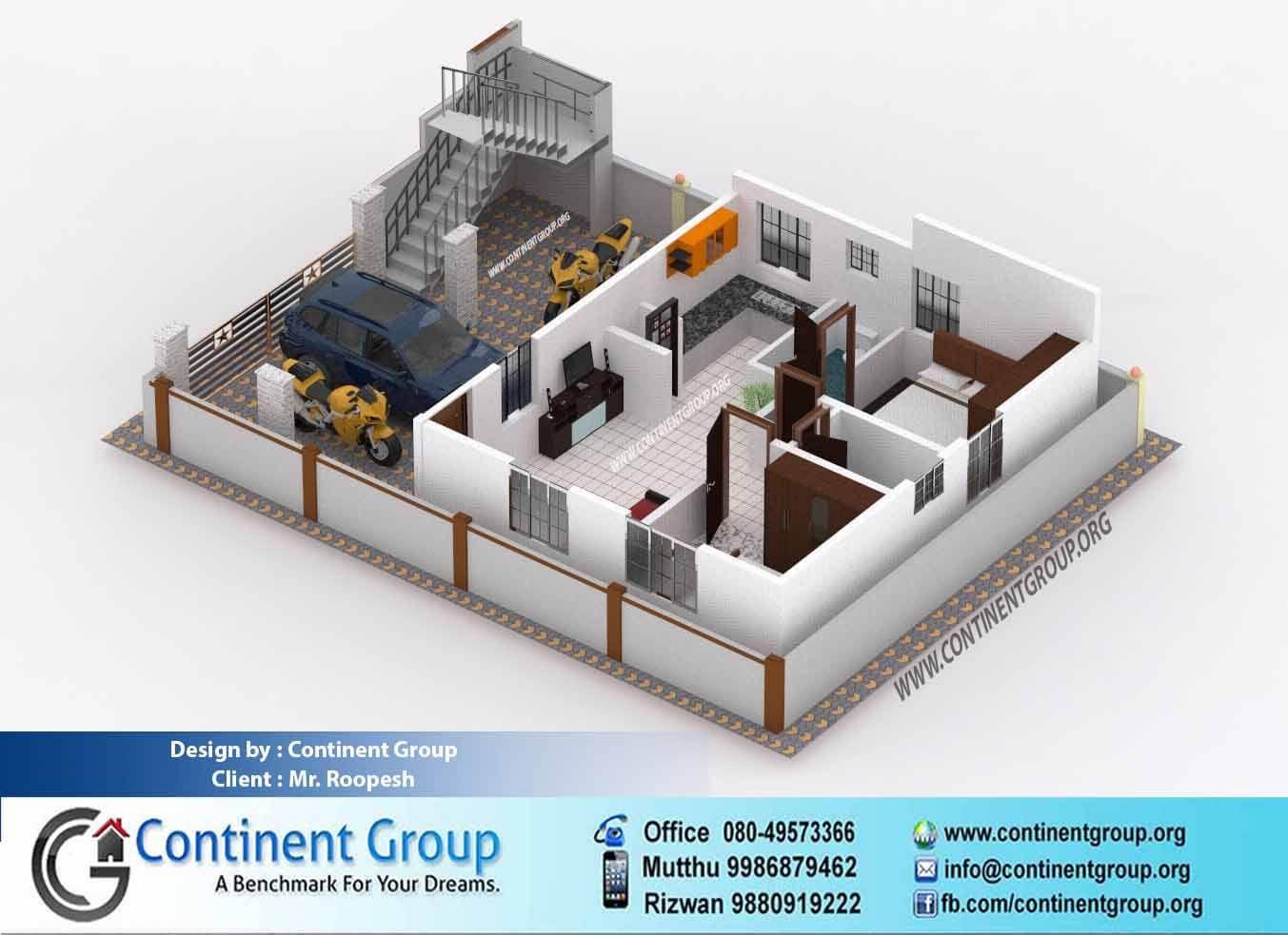 3d Floor Plan Ground 2bhk 2 Bedroom Floor Plans House Front Design Building Elevation