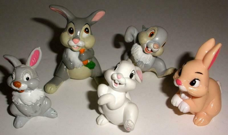 Disney Lot Of 5 Bambi Thumper Bunny Vinyl Figures Includes Bully Germany Figure Disney Vinyl Figures Bambi And Thumper Flower Toy